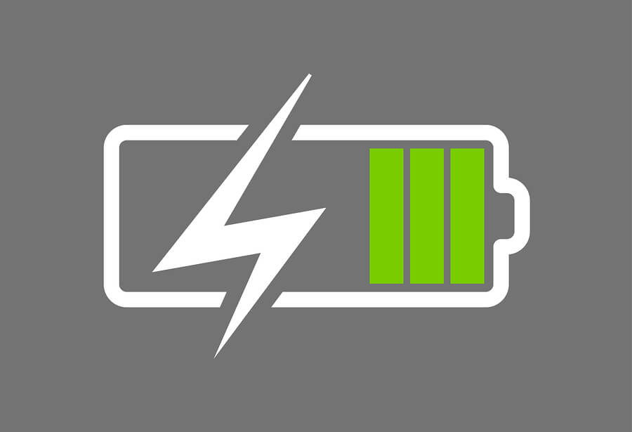 Battery charge icon green gray
