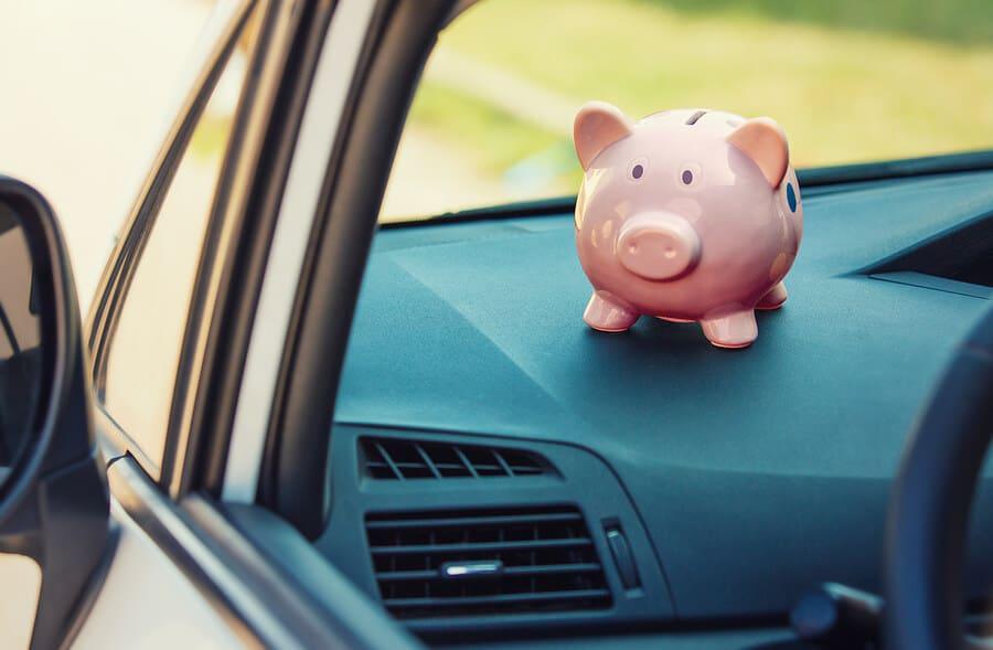 Driving car piggy bank costs