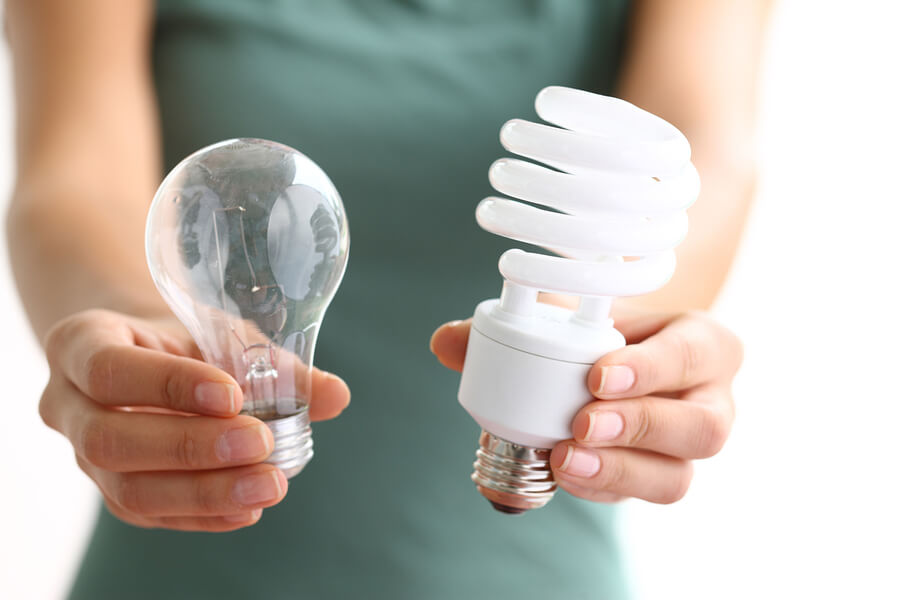 Light bulbs old new energy efficient